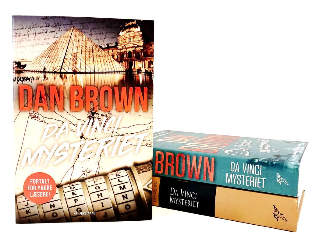 Da Vinci mysteriet: Fortalt for yngre læsere af Dan Brown. Her sammen med to andre udgaver.