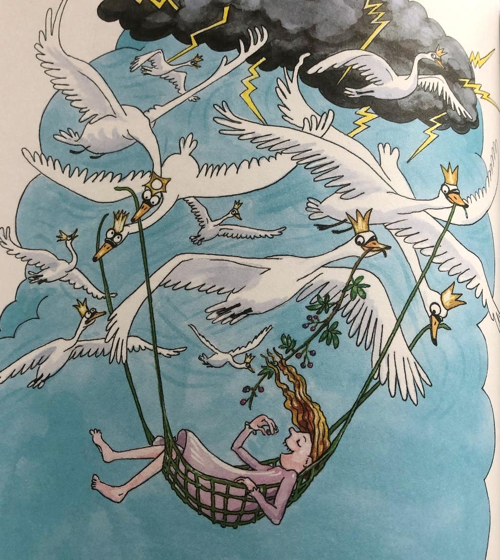 Stine Rosenbergs illustration fra De vilde svaner